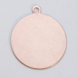 Copper Circle with Ring, 24 Gauge, 1 Inch, Pack of 6