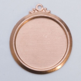 Copper Framed Circle with Ring, 24 Gauge, 22 Millimeter, Pack of 6