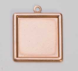 Copper Square with Ring, 24 Gauge, 20 Millimeters, Pack of 6