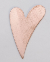 Copper Funky Heart, 24 Gauge, 1 by 5/8 Inch, Pack of 6