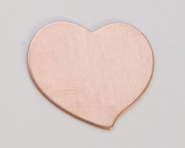 Copper Heart, 24 Gauge, 3/4 by 3/4 Inch, Pack of 6