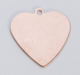 Copper Heart with Ring, 24 Gauge, 5/8 by 5/8 Inch, Pack of 6