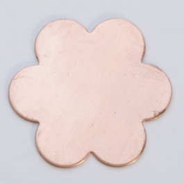 Copper 6-Petal Flower, 24 Gauge, 7/8 Inch, Pack of 6