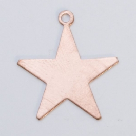 Copper Star with Ring, 24 Gauge, 1 Inch, Pack of 6