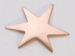 Copper Funky Star, 24 Gauge, 1-1/8 Inch, Pack of 6