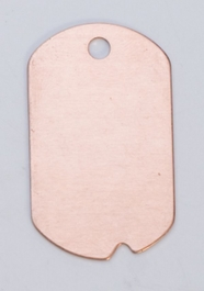 Copper Dog Tag with Hole, 24 Gauge, 1-1/4 by 3/4 Inch, Pack of 6