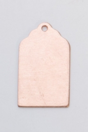 Copper Luggage Tag with Hole, 24 Gauge, 13/16 by 1/2 Inch, Pack of 6