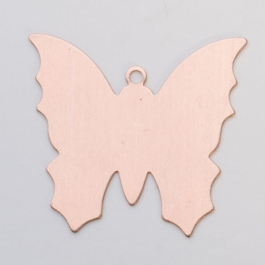 Copper Butterfly with Ring, 24 Gauge, 1-3/8 by 1-1/4 Inch, Pack of 6