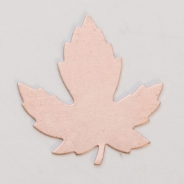 Copper Maple Leaf, 24 Gauge, 29 by 28 Millimeters, Pack of 6