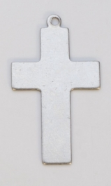 Nickel Silver Cross with Ring, 24 Gauge, 5/8 by 1 Inch, Pack of 6
