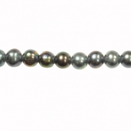 5-5.5mm Round Black Fresh Water Potato Pearl Large 1.2mm Hole - 16 Inch Strand