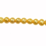 5-6mm Dark Yellow Freshwater Potato Pearls Large 1.2mm Hole - 16 Inch Strand