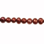 5-6mm Red Freshwater Potato Pearls Large 1.2mm Hole - 16 Inch Strand