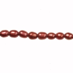 8x6mm Red Freshwater Rice Pearls Large 1.2mm Hole - 16 Inch Strand