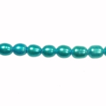8x6mm Blue Freshwater Rice Pearls Large 1.2mm Hole - 16 Inch Strand