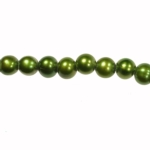 8-9mm Dark Green Freshwater Potato Pearls Large 2mm Hole - 16 Inch Strand