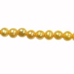 8-9mm Dark Yellow Freshwater Potato Pearls Large 2mm Hole - 16 Inch Strand