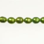 9x8mm Dark Green Freshwater Rice Pearls Large 2mm Hole - 16 Inch Strand