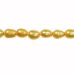 9x8mm Dark Yellow Freshwater Rice Pearls Large 2mm Hole - 16 Inch Strand
