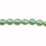 9x8mm Aqua Freshwater Rice Pearls Large 2mm Hole - 16 Inch Strand