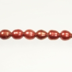 9x8mm Red Freshwater Rice Pearls Large 2mm Hole - 16 Inch Strand