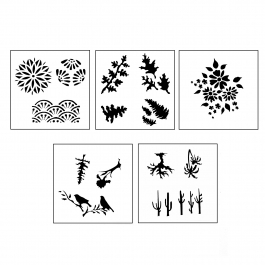 DESIGN STENCILS FOR ENAMELING - SECRET GARDEN, 5PC