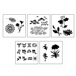 DESIGN STENCILS FOR ENAMELING - UNIVERSE, 5PC