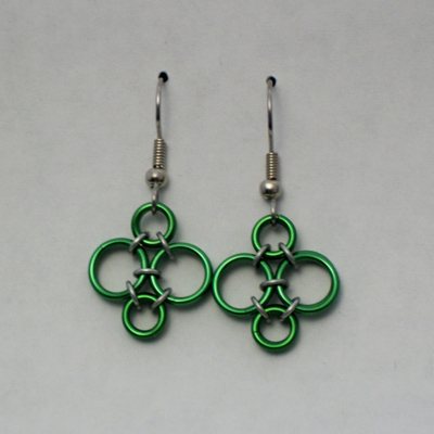 Tiny Bubbles Earrings Pattern Chainmaille by Rebecca Rudaski