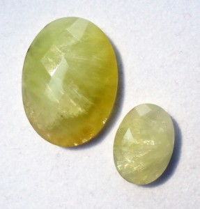Faceted yellow prehnite cabochons