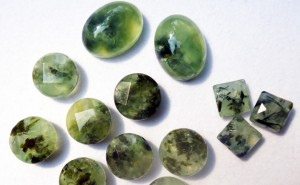 Epidote-included prehnite cabochons and beads