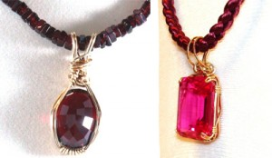 Left: Ruby wrapped with bronze wire and hung on a garnet strand. Right: Emerald-cut Pink Sapphire (27mm x 23mm x 12mm) hung on a braided satin cord. Both wrapped by Julia McCormack.