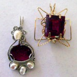 Wire jewelry made using lab-grown ruby by Dale Cougar Armstrong.