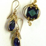 Fancy lab-grown sapphires in wire jewelry designs by Dale Cougar Armstrong.