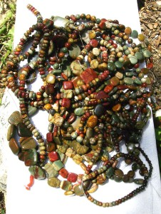Jasper and bloodstone beads