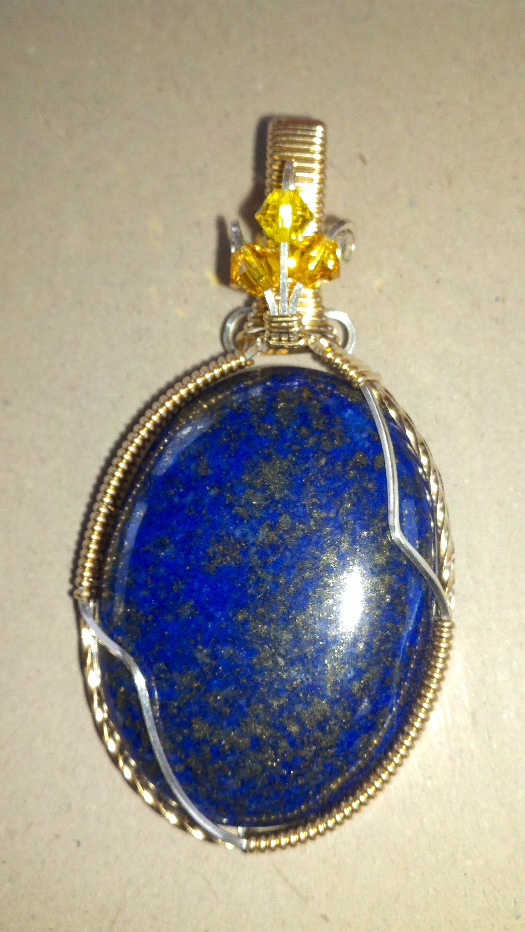 lazuli clasp and stainless lapis gold yellow centerpiece steel