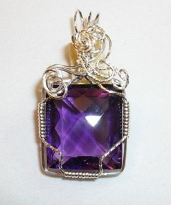 silver filled amethyst pendant