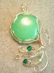 dyed quartz wire wrapped pendant
