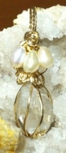 Gold Wire Wrapped quartz pendant