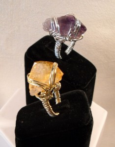 citrine wire wrap rings
