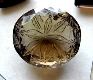 flower intaglio smoky quartz
