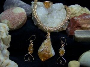 raw citrine wire jewelry