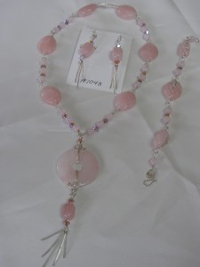 Rose quartz wire jewelry set