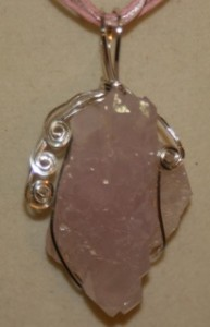 wire wrapped rose quartz crystal
