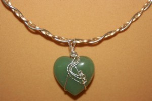 aventurine heart wire wrapped