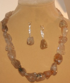 quartz with inclusions necklace by Jackie Morris