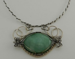 sterling silver wire wrapped aventurine
