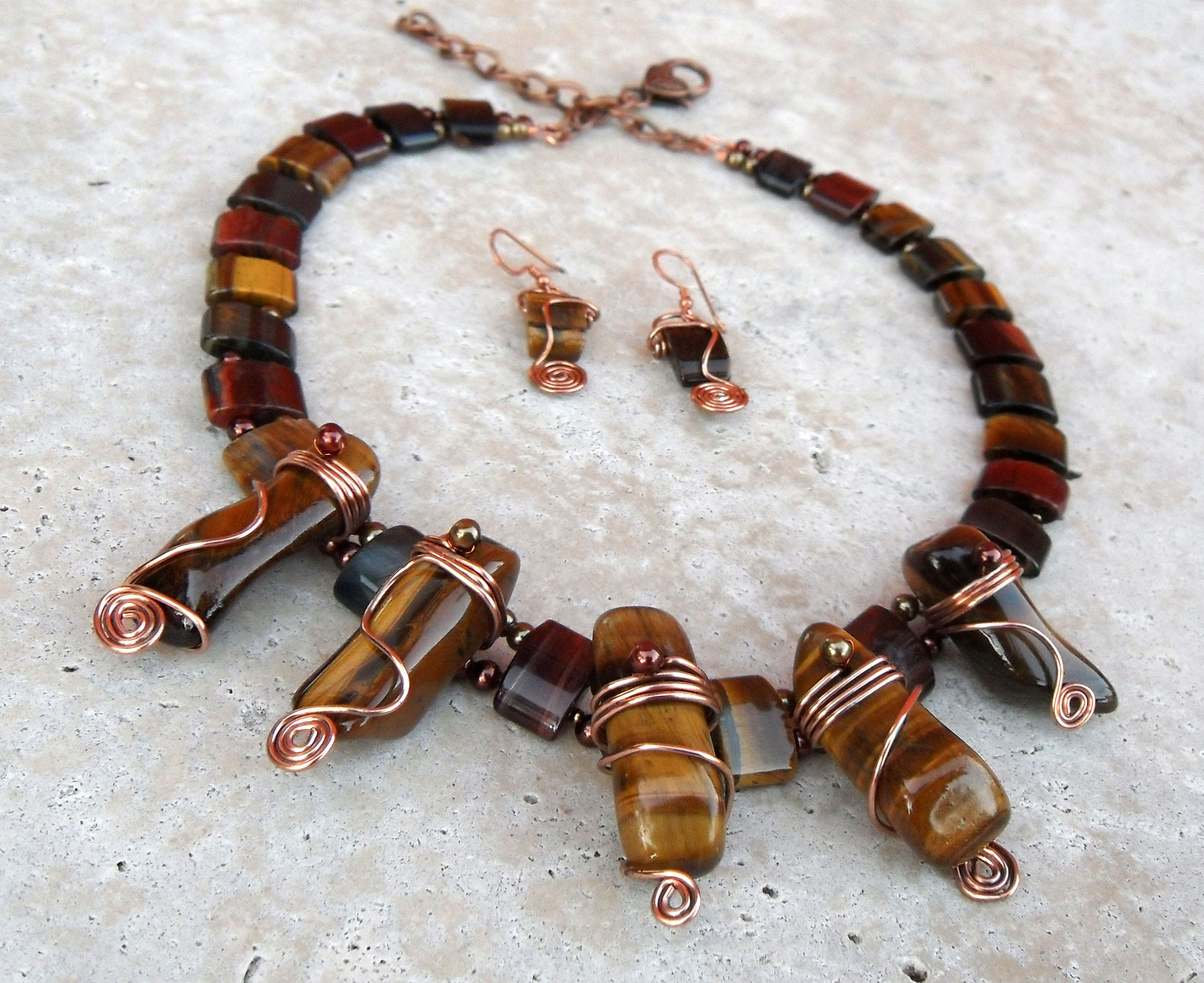 pin eyes healing chakra jewelry tiger eye gemstone chip handmade necklace