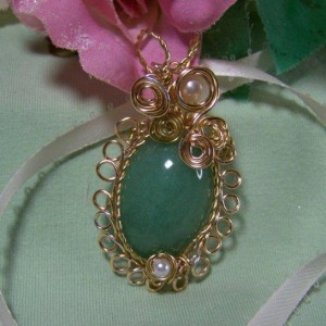 wire wrapped aventurine cabochon