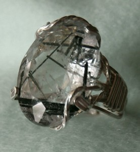 tourmalinated quartz wire wrapped ring by Kim Burns