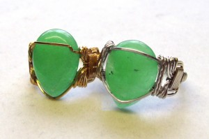 bright aventurine in wire wrapped rings